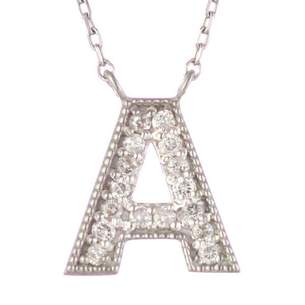 イニシャル A イニシャル 4月誕生石 K18ホワイトゴールド ダイヤモンド ペンダント ネックレス
