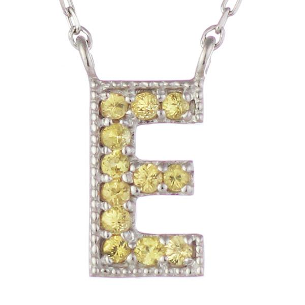 イニシャル E イニシャル 9月誕生石 K18ホワイトゴールド サファイヤ ペンダント ネックレス