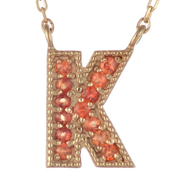 イニシャル K イニシャル 9月誕生石 K18ピンクゴールド サファイヤ ペンダント ネックレス