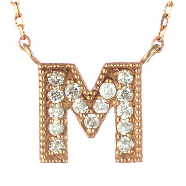イニシャル M イニシャル 4月誕生石 K18ピンクゴールド ダイヤモンド ペンダント ネックレス