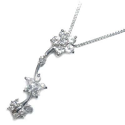 ( 4月誕生石 ) K18ホワイトゴールドダイヤモンドペンダントネックレス(フラワーモチーフ) 【DEAL】