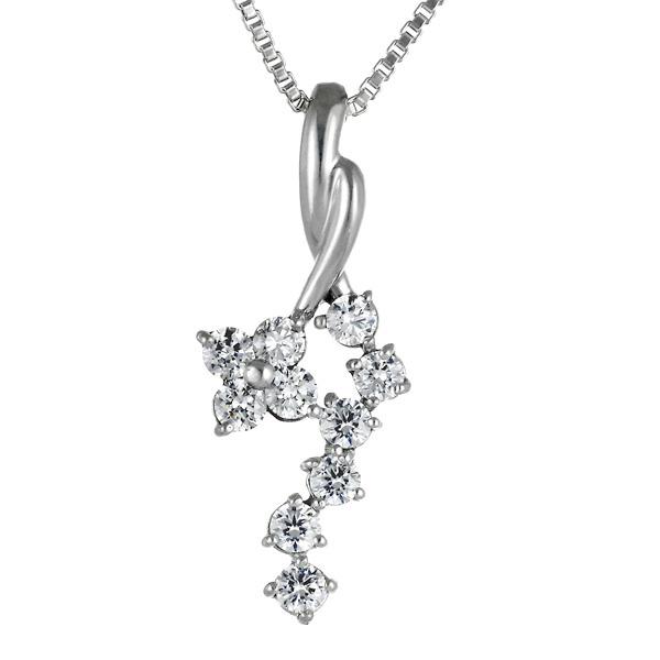 スイート エタニティ ダイヤモンド 10 個 K18ホワイトゴールド ダイヤモンドペンダントネックレス 結婚 10周年記念