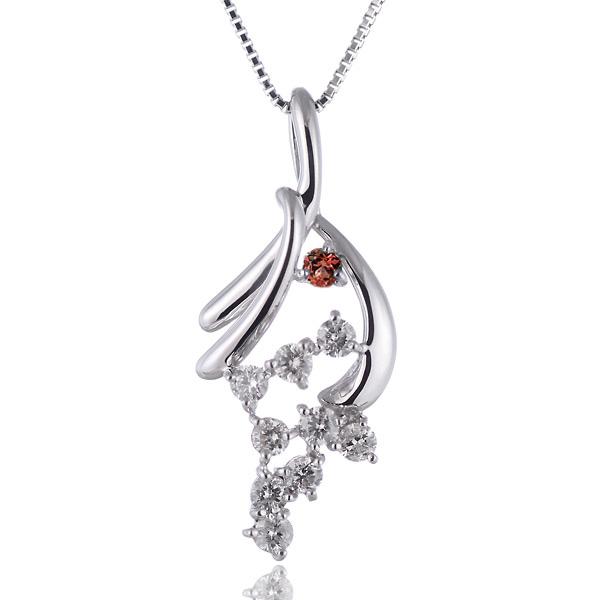 ガーネット ネックレス スイート エタニティ ダイヤモンド 10 個 ( 1月誕生石 ) K18ホワイトゴールド ダイヤモンド・ガーネットペンダントネックレス 結婚 10周年記念