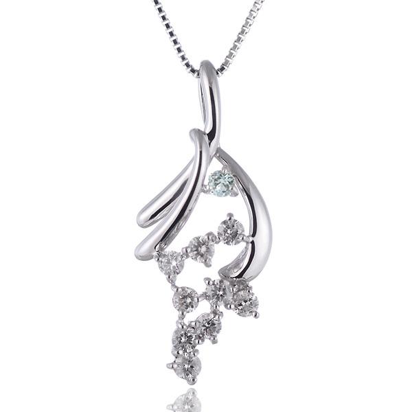 アクアマリン ネックレス スイート エタニティ ダイヤモンド 10 個 ( 3月誕生石 ) K18ホワイトゴールド ダイヤモンド・アクアマリンペンダントネックレス 結婚 10周年記念
