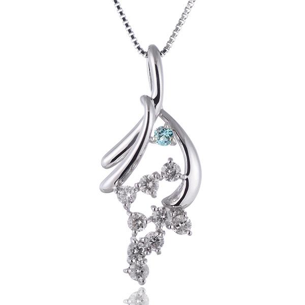 ブルートパーズ ネックレス スイート エタニティ ダイヤモンド 10 個 ( 11月誕生石 ) K18ホワイトゴールド ダイヤモンド・ブルートパーズペンダントネックレス 結婚 10周年記念