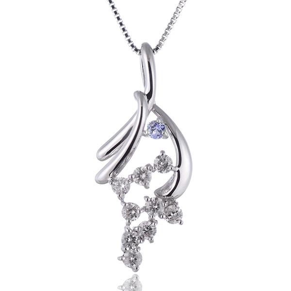 タンザナイト ネックレス スイート エタニティ ダイヤモンド 10 個 ( 12月誕生石 ) K18ホワイトゴールド ダイヤモンド・タンザナイトペンダントネックレス 結婚 10周年記念