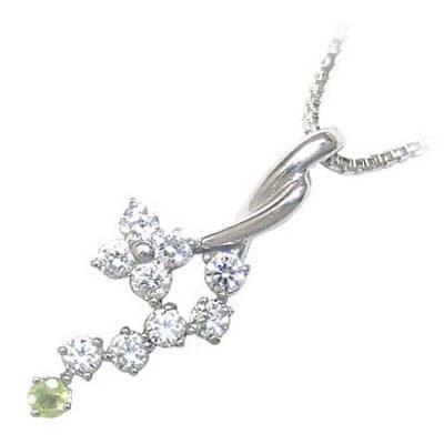 ペリドット ネックレス ネックレス メンズ ペリドット 8月誕生石 K18ホワイトゴールド ダイヤモンド ペリドットペンダントネックレス