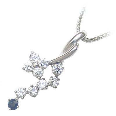 サファイア ネックレス サファイア サファイヤ 9月誕生石 K18ホワイトゴールド ダイヤモンド サファイアペンダントネックレス