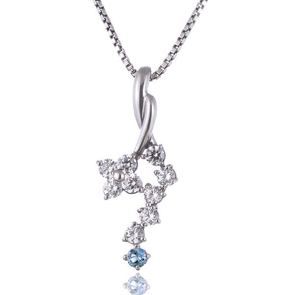 ブルートパーズ ネックレス トパーズ 11月誕生石 K18ホワイトゴールド ダイヤモンド ブルートパーズペンダントネックレス