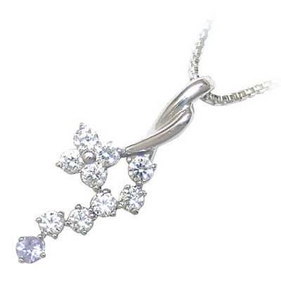 タンザナイト ネックレス ネックレス メンズ タンザナイト 12月誕生石 K18ホワイトゴールド ダイヤモンド タンザナイトペンダントネックレス