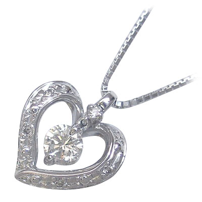 ( 4月誕生石 ) K18ホワイトゴールドダイヤモンドペンダントネックレス(ハートモチーフ)【DEAL】 末広 スーパーSALE