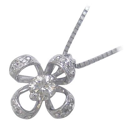 ( 4月誕生石 ) K18ホワイトゴールドダイヤモンドペンダントネックレス(クローバーモチーフ)【DEAL】 末広 スーパーSALE