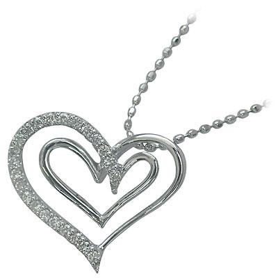 ハート K18ホワイトゴールド ダイヤモンドペンダントネックレス(ハートモチーフ)【DEAL】