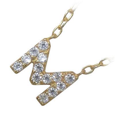 イニシャル 「M」イニシャルモチーフ( 4月誕生石 ) K18イエローゴールドダイヤモンドペンダントネックレスCanCam掲載