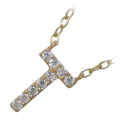 イニシャル 「T」イニシャルモチーフ( 4月誕生石 ) K18イエローゴールドダイヤモンドペンダントネックレスCanCam掲載