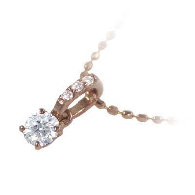 ( 4月誕生石 ) K18ピンクゴールド ダイヤモンドペンダントネックレス 末広 スーパーSALE