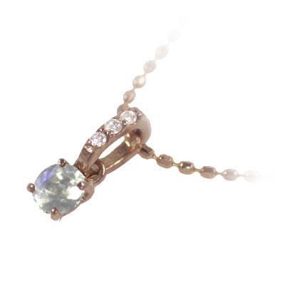 ムーンストーン ネックレス ネックレス メンズ ムーンストーン ( 6月誕生石 ) K18ピンクゴールド ムーンストーンペンダントネックレス