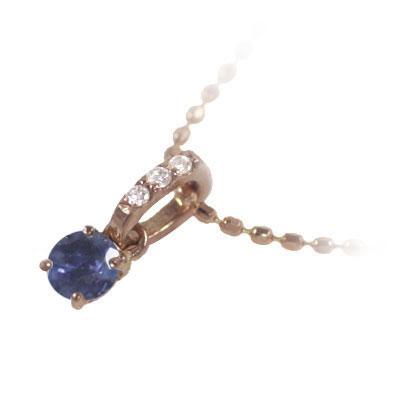 サファイア ネックレス ネックレス メンズ サファイア サファイヤ ( 9月誕生石 ) K18ピンクゴールド サファイアペンダントネックレス