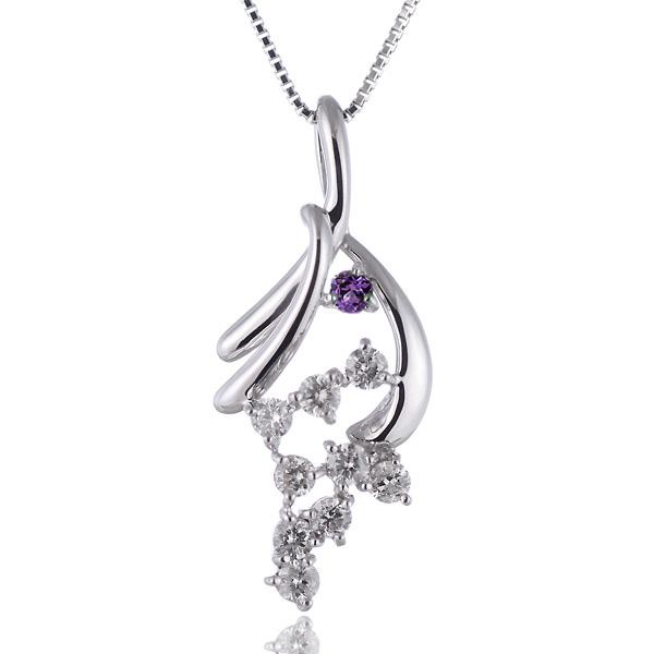 アメジスト ネックレス ネックレス メンズ アメジスト 2月誕生石 プラチナ ダイヤモンド アメジストペンダントネックレス