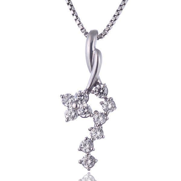 スイート エタニティ ダイヤモンド 10 個 ( 4月誕生石 ) プラチナ ダイヤモンドペンダントネックレス 結婚 10周年記念