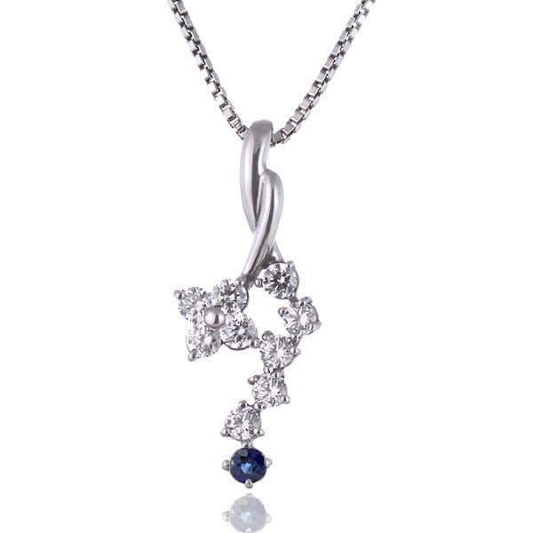 サファイア ネックレス スイート エタニティ ダイヤモンド 10 個 ( 9月誕生石 ) プラチナ ダイヤモンド・サファイアペンダントネックレス 結婚 10周年記念