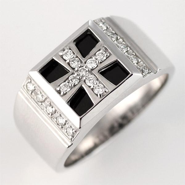 メンズ リング K18 ホワイトゴールド ダイヤモンド