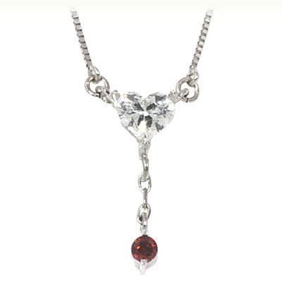 ガーネット ネックレス ガーネット ( 1月誕生石 ) K18ホワイトゴールド ダイヤモンド・ガーネットペンダントネックレス(ハートモチーフ)