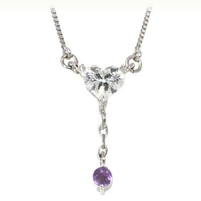 アメジスト ネックレス アメジスト ( 2月誕生石 ) K18ホワイトゴールド ダイヤモンド・アメジストペンダントネックレス(ハートモチーフ)