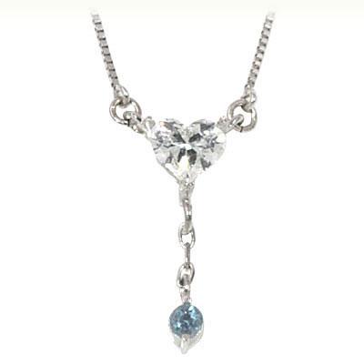 アクアマリン ネックレス ネックレス メンズ アクアマリン ( 3月誕生石 ) K18ホワイトゴールド ダイヤモンド・アクアマリンペンダントネックレス(ハートモチーフ)