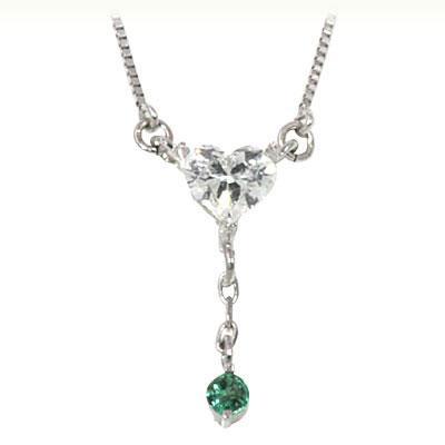 エメラルド ネックレス エメラルド 5月誕生石 K18ホワイトゴールド ダイヤモンド・エメラルドペンダントネックレス(ハートモチーフ)