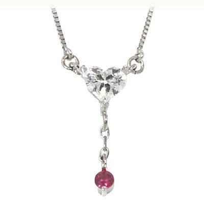 ルビー ネックレス ルビー ( 7月誕生石 ) K18ホワイトゴールド ダイヤモンド・ルビーペンダントネックレス(ハートモチーフ)