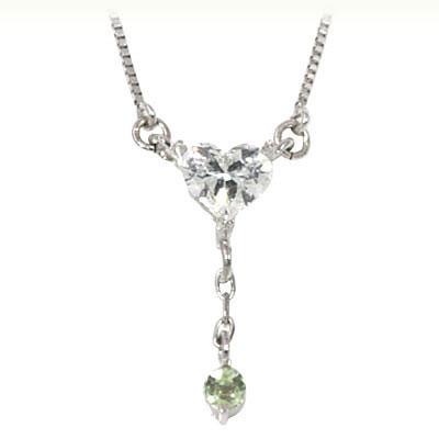 ペリドット ネックレス ペリドット ( 8月誕生石 ) K18ホワイトゴールド ダイヤモンド・ペリドットペンダントネックレス(ハートモチーフ)