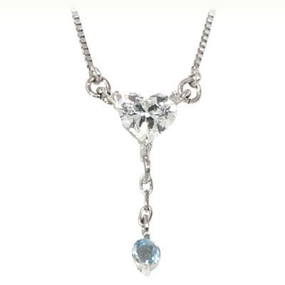 ブルートパーズ ネックレス ネックレス メンズ トパーズ ( 11月誕生石 ) K18ホワイトゴールド ダイヤモンド・ブルートパーズペンダントネックレス(ハートモチーフ)