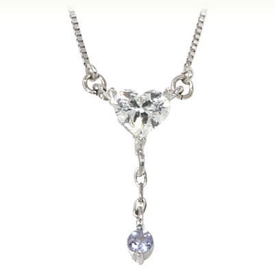 タンザナイト ネックレス ネックレス メンズ タンザナイト ( 12月誕生石 ) K18ホワイトゴールド ダイヤモンド・タンザナイトペンダントネックレス(ハートモチーフ)