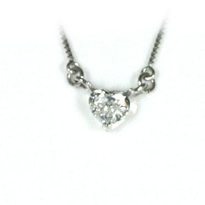 ネックレス メンズ ( 4月誕生石 ) K18ホワイトゴールド ダイヤモンドペンダントネックレス(ハートモチーフ)
