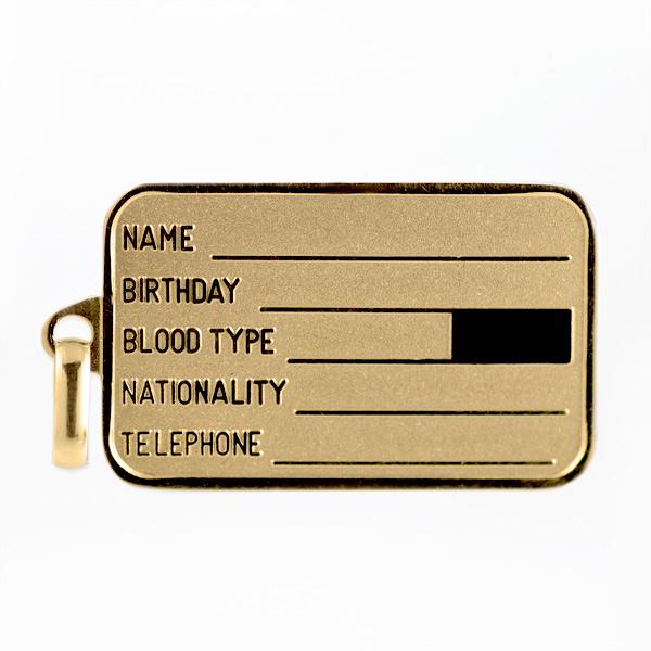 ドッグタグ イエローゴールド ネックレス 認識票 タグ ID プレート