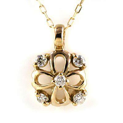 ネックレス ピンクゴールドダイヤモンドペンダントネックレス(クローバーモチーフ)-QP【あす楽対応!!】【DEAL】