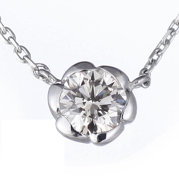 ダイヤモンド ネックレス 一粒 プラチナ ダイヤモンドネックレス 花びら【DEAL】