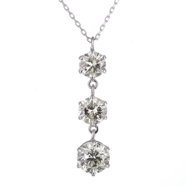 ダイヤモンドネックレス スリーストーン ネックレスレディース トリロジーストーン 1カラット 1ct ダイヤモンドネックレス人気 ネックレス送料無料