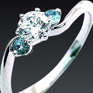 ( 3月誕生石 ) アクアマリン Pt ダイヤリング(婚約指輪・エンゲージリング)【DEAL】
