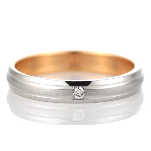 プラチナ ピンクゴールド ダイヤモンド 結婚指輪 マリッジリング ペアリング