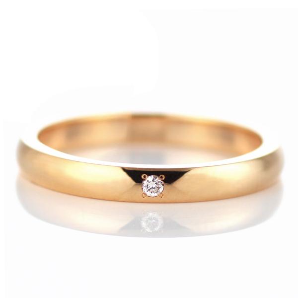 ピンクゴールド ダイヤモンド 結婚指輪 マリッジリング ペアリング 18金