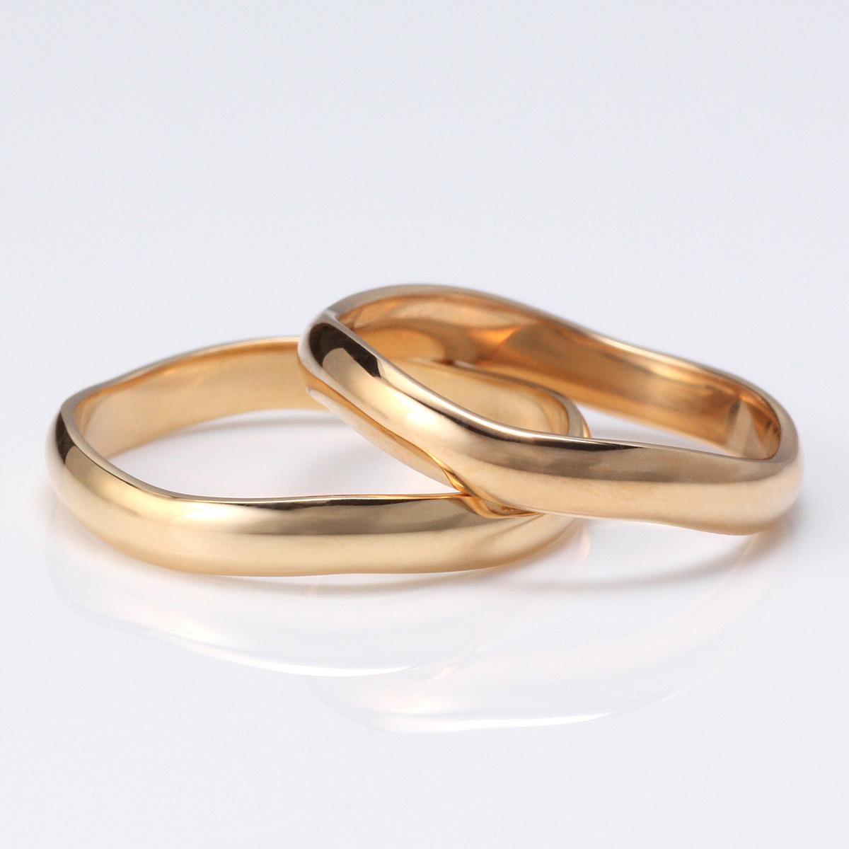 ピンクゴールド 結婚指輪 マリッジリング ペアリング 18金 V字 カーブ 2本セット