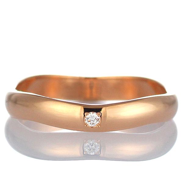 メンズリング 結婚指輪 マリッジリング 結婚指輪 マリッジリング ペアリング ピンクゴールド ダイヤモンド 末広 スーパーSALE【今だけ代引手数料無料】