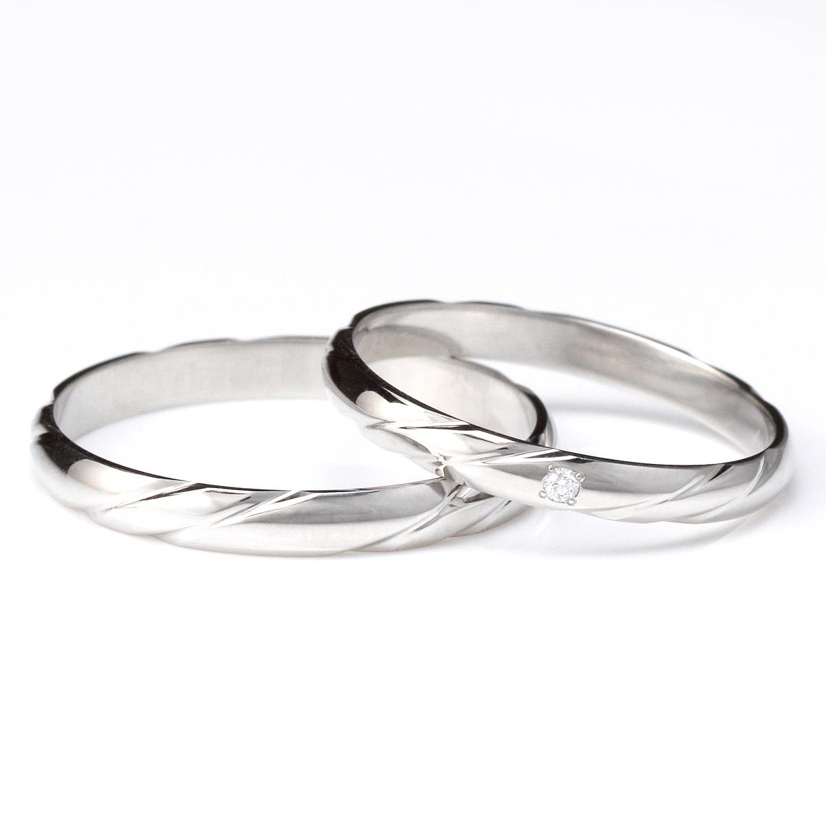 プラチナ ダイヤモンド 結婚指輪 ペアリング マリッジリング シンプル 2本セット 末広 スーパーSALE【今だけ代引手数料無料】
