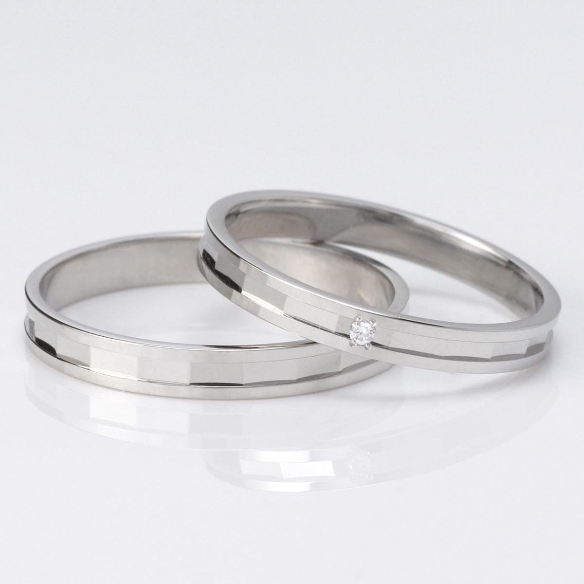 ラッピング無料 結婚指輪 マリッジリング ペアリング プラチナ ダイヤモンド 2本セット