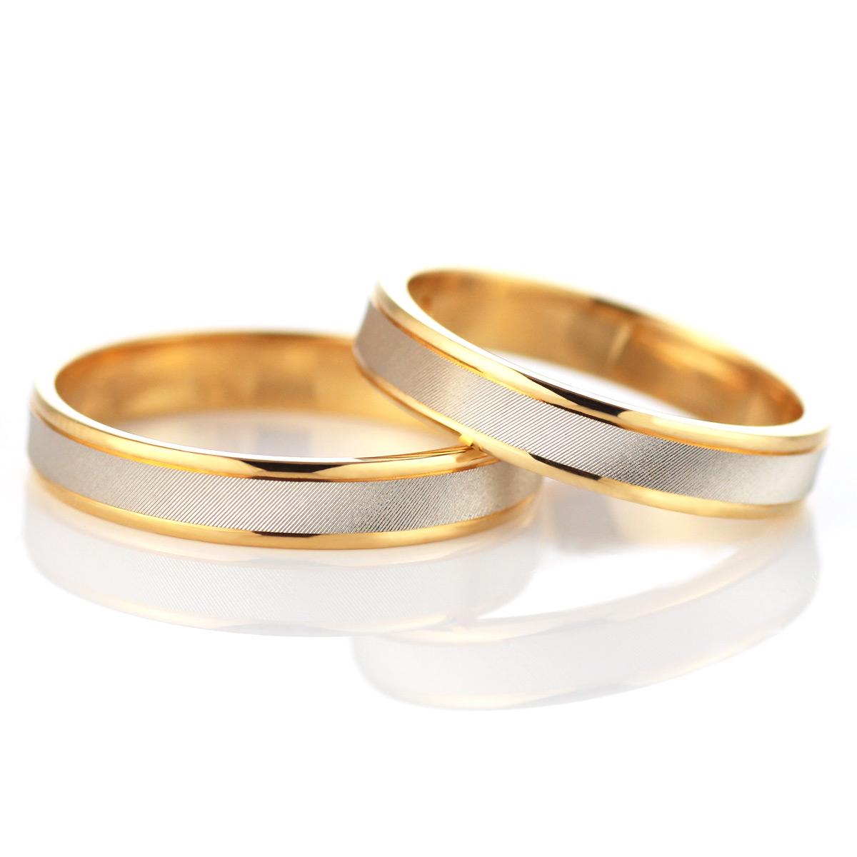 メンズリング つや消し 結婚指輪 マリッジリング ペアリング プラチナ ゴールド 2本セット
