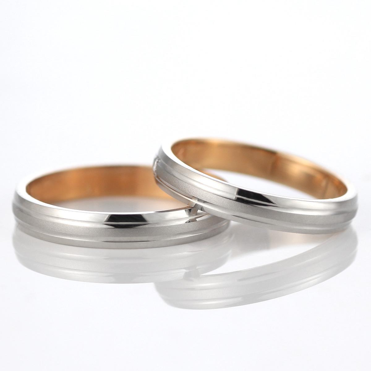 ペアリング シンプル 結婚指輪 マリッジリング ペアリング プラチナ ピンクゴールド 2本セット
