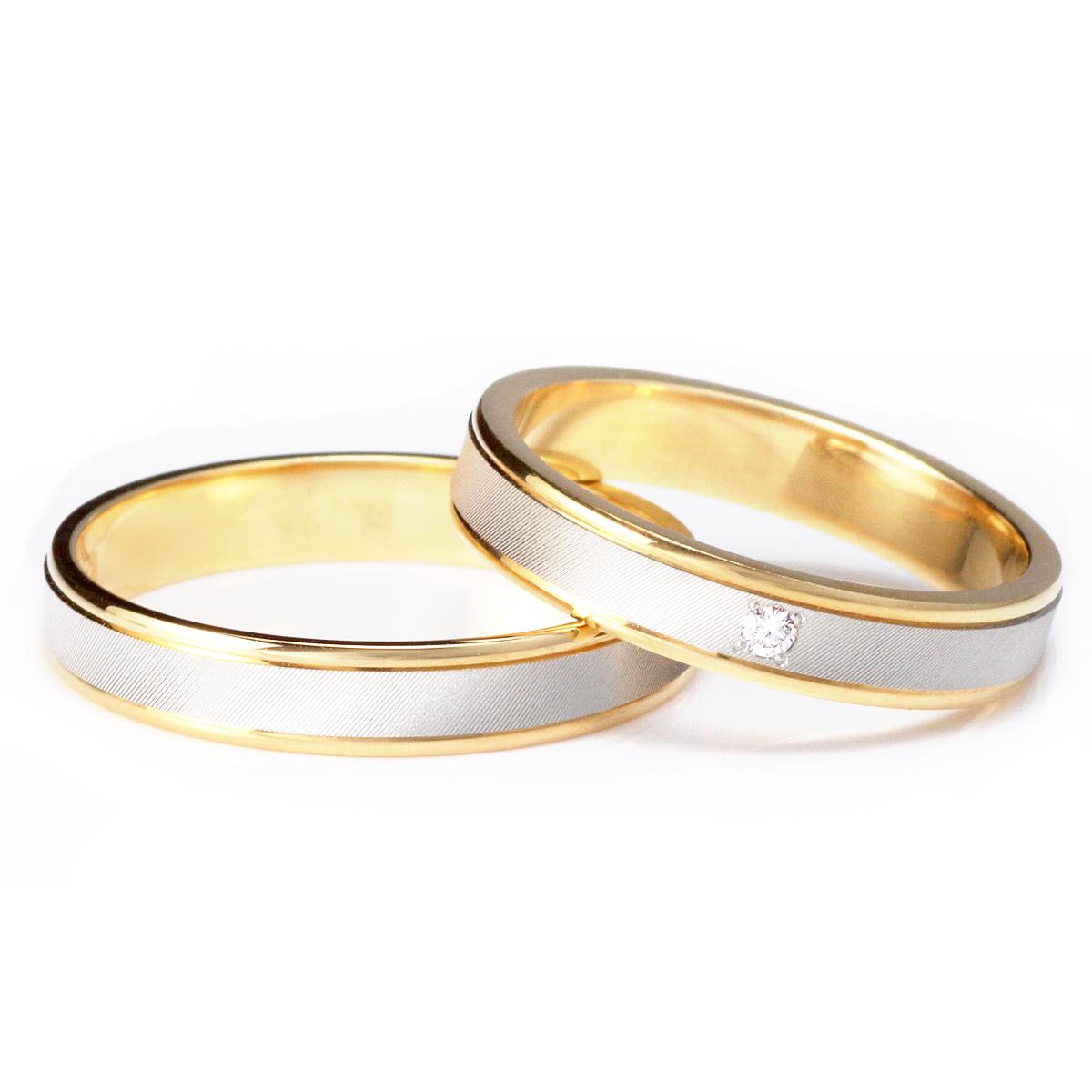 ゴールド プラチナ ダイヤモンド ペアリング シンプル 結婚指輪 マリッジリング 18金 2本セット