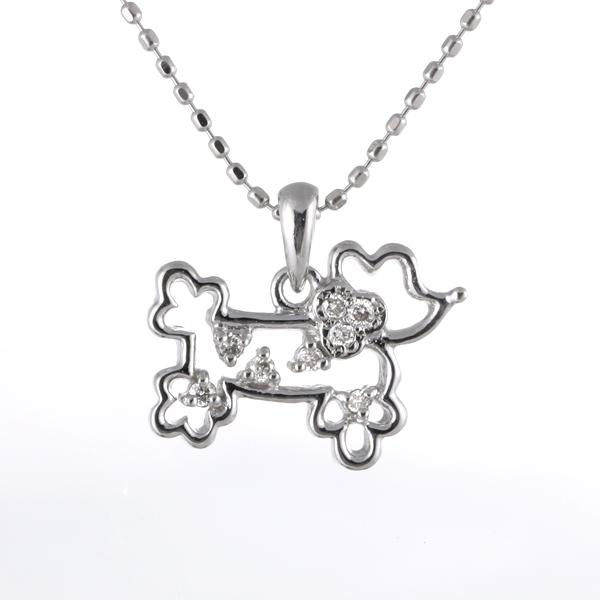 ダイヤモンドネックレス 犬 ドッグ k18 18金 ホワイトゴールド